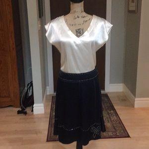 Marc Jacobs Navy 100% Silk Rhinestone Skirt 6